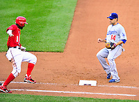 24 April 2010: Los Angeles Dodgers' infielder Jamey Carroll in action against the Washington Nationals at Nationals Park in Washington, DC. The Dodgers edged out the Nationals 4-3. Mandatory Credit: Ed Wolfstein Photo