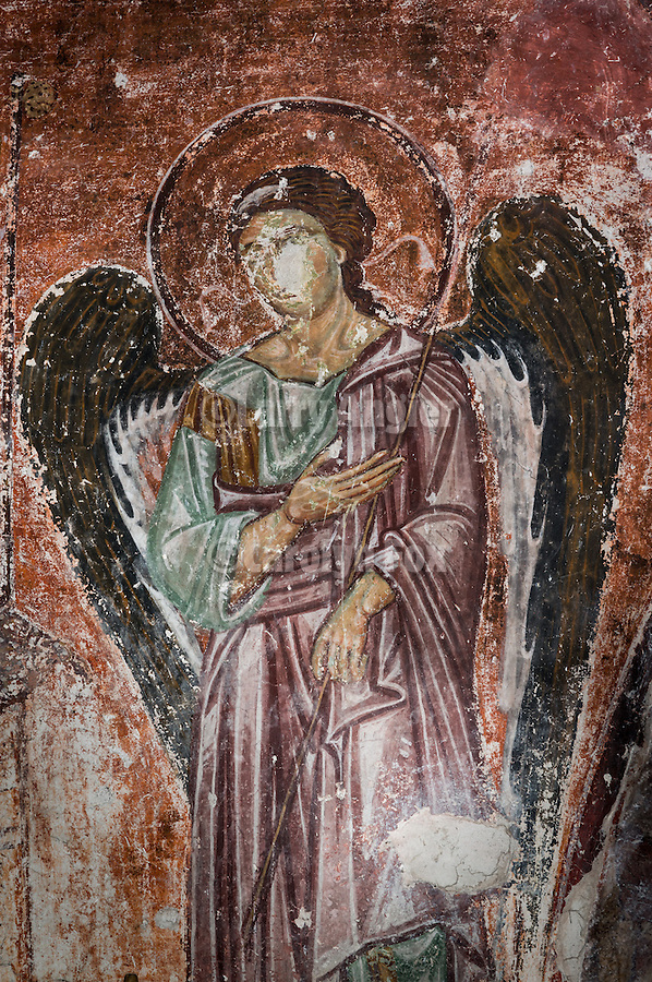 Serbo-Byzantine iconography and frescoe of an angel at the altar, Church at the Monastery Mileseva, Serbia originally built in the 13th century.