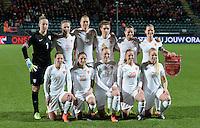 20160302 – DEN HAAG ,  NEDERLAND : Dutch team pictured with Sari Van Veenendaal (1) , Kika Van Es (2) , Mandy van den Berg (4) , Dominique Janssen (5) , Anouk Dekker (6) , Manon Melis (7) , Sherida Spitse (8) , Vivianne Miedema (9) , Danielle van de Donk (10) , Danique Kerkdijk (13) and Jackie Groenen (20) during the Olympic Qualification Tournament  soccer game between the women teams of Switzerland and The Netherlands, The first game for both teams in the Olympic Qualification Tournament for the Olympic games in Rio de Janeiro - Brasil, Wednesday 2 March 2016 at Kyocera Stadium in The Hague , Netherlands  PHOTO DAVID CATRY