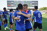 SAN JOSE, CA - AUGUST 8: Paul Marie #3 celebrates with Jackson Yueill #14 of the San Jose Earthquakes during a game between Los Angeles FC and San Jose Earthquakes at PayPal Park on August 8, 2021 in San Jose, California.