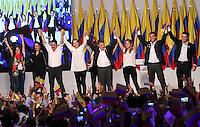 BOGOTA -COLOMBIA. 15-06-2014. El presidente-candidato Juan Manuel Santos por La Unidad Nacional  celebra en la sede de su campaña la victoria al sacar la mayor votacion en el pais y ser reelegido como  presidente de Colombia para el periodo 2014-2018. / President Juan Manuel Santos, candidate for the National Unity held at the headquarters of his campaign to win poll shows most in the country and be re-elected as president of Colombia for the period 2014-2018..   / The president-candidate Juan Manuel Santos held at the headquarters of his campaign to win poll shows most in the country and be elected as the new president of Colombia for the 2014-2018 perioda. Photo: VizzorImage/ Felipe Caicedo / Staff