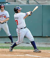Catcher Ryan Delgado (33) of the Danville Braves in a game against the Pulaski Mariners on July 19, 2010, at Calfee Park in Pulaski, Va. Photo by: Tom Priddy/Four Seam Images