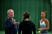 March 13, 2015, Netherlands, Rotterdam, TC Victoria, NOJK, Umpire Peter van den Hoven does the toss in the match between Gabriella Mujan (NED) vs  Sem Wensveen (NED) (R)<br /> Photo: Tennisimages/Henk Koster
