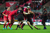 Jake Ball of Scarlets is tackled by Godlen Masimla of Southern Kings during the Guinness Pro14 Round 5 match between Scarlets and Isuzu Southern Kings at the Parc Y Scarlets in Llanelli, Wales, UK. Saturday 29 September 2018