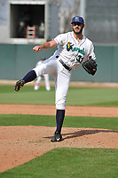 Cedar Rapids Kernels pitcher Max Cordy (33) throws during a game against the Beloit Snappers at Veterans Memorial Stadium on April 9, 2017 in Cedar Rapids, Iowa.  The Kernels won 6-1.  (Dennis Hubbard/Four Seam Images)