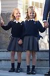 14.09.2012. Prince Felipe of Spain, Princess Letizia of Spain and their daughters Leonor and Sofia  arrive at 'Santa Maria de los Rosales' School in Aravaca near of Madrid, Spain. In the image (L-R) Princess Sofia and Princess Leonor  (Alterphotos/Marta Gonzalez)  (Alterphotos/Marta Gonzalez)
