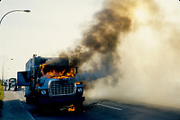 1987 File Photo - Montreal (qc) CANADA -  Truck on fire