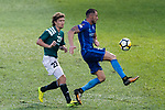 Jaimes McKee of Long Lions (L) in action against SC Kitchee Defender Fernando Recio (R) during the Community Cup match between Kitchee and Eastern Long Lions at Mong Kok Stadium on September 23, 2017 in Hong Kong, China. Photo by Marcio Rodrigo Machado / Power Sport Images