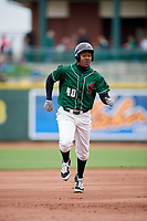 Great Lakes Loons right fielder Carlos Rincon (40) runs the bases during a game against the Burlington Bees on May 4, 2017 at Dow Diamond in Midland, Michigan.  Great Lakes defeated Burlington 2-1.  (Mike Janes/Four Seam Images)