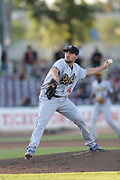 Michael Boyle (46) of the Rancho Cucamonga Quakes pitches against the Inland Empire 66ers at San Manuel Stadium on July 29, 2017 in San Bernardino, California. Inland Empire defeated Rancho Cucamonga, 6-4. (Larry Goren/Four Seam Images)