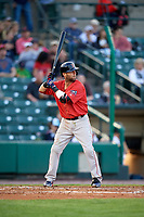 Boston Red Sox second baseman Dustin Pedroia (15), on rehab assignment with the Pawtucket Red Sox, at bat during a game against the Rochester Red Wings on May 19, 2018 at Frontier Field in Rochester, New York.  Rochester defeated Pawtucket 2-1.  (Mike Janes/Four Seam Images)