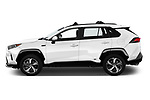 Car Driver side profile view of a 2021 Toyota RAV4-Prime SE 5 Door SUV Side View