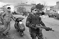 """- Calabria, February 1994, Carabinieri of the special unit """"Cacciatori di Aspromonte"""" carry out a checkpoint during the military operation """"Riace"""" for the control of territory and the fight against organized crime 'ndrangheta<br /> <br /> - Calabria, Febbraio 1994, posto di blocco dei Carabinieri del reparto speciale """"Cacciatori di Aspromonte"""" durante l'operazione militare """"Riace"""" per il controllo del territorio ed il contrasto alla criminalità organizzata 'ndrangheta"""