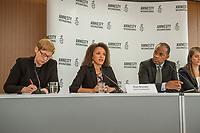 Pressegespraech zur Verleihung des 9. Amnesty Menschenrechtspreises am 16. April 2018 in Berlin.<br /> Amnesty International vergibt den Menschenrechtspreis 2018 an das Nadeem-Zentrum in Kairo als ein Zeichen gegen Folter in Aegypten.<br /> Stellvertretend fuer das Nadeem-Zentrum nahm der aegyptische Arzt und Menschenrechtsaktivist Taher Mukhtar entgegen, da die Betreiber des Zentrums nicht aus Aegypten ausreisen duerfen.<br /> Im Bild vlnr.: Dolmetscherin; Najia Bounaim, Stellvertretende Nordafrika-Direktorin fuer Kampagnen im Internationalen Sekretariat von Amnesty International und Markus N. Beeko, Generalsekretaer von Amnesty International in Deutschland; Sara Fremberg, Pressesprecherin Amnesty International Deutschland.<br /> 16.4.2018, Berlin<br /> Copyright: Christian-Ditsch.de<br /> [Inhaltsveraendernde Manipulation des Fotos nur nach ausdruecklicher Genehmigung des Fotografen. Vereinbarungen ueber Abtretung von Persoenlichkeitsrechten/Model Release der abgebildeten Person/Personen liegen nicht vor. NO MODEL RELEASE! Nur fuer Redaktionelle Zwecke. Don't publish without copyright Christian-Ditsch.de, Veroeffentlichung nur mit Fotografennennung, sowie gegen Honorar, MwSt. und Beleg. Konto: I N G - D i B a, IBAN DE58500105175400192269, BIC INGDDEFFXXX, Kontakt: post@christian-ditsch.de<br /> Bei der Bearbeitung der Dateiinformationen darf die Urheberkennzeichnung in den EXIF- und  IPTC-Daten nicht entfernt werden, diese sind in digitalen Medien nach §95c UrhG rechtlich geschuetzt. Der Urhebervermerk wird gemaess §13 UrhG verlangt.]