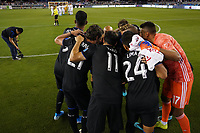 SAN JOSE, CA - SEPTEMBER 26: San Jose Earthquakes huddle prior to a Major League Soccer (MLS) match between the San Jose Earthquakes and the Philadelphia Union on September 26, 2019 at Avaya Stadium in San Jose, California.