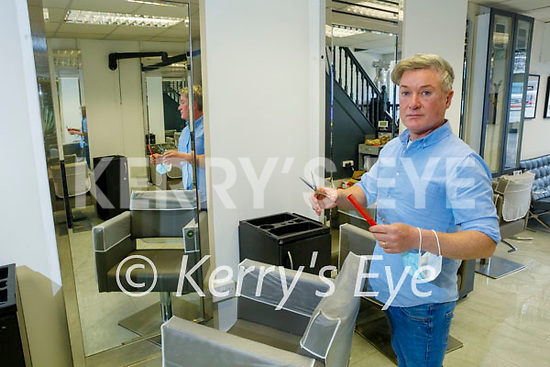Hairdresser Danny Russell in his salon in Listowel with the anticipated reopening of hairdressers and salons.