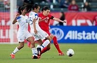 CARSON, CA - FEBRUARY 07: Shirley Cruz #10 and Stephannie Blanco #15 of Costa Rica battle with Christine Sinclair #12 of Canada during a game between Canada and Costa Rica at Dignity Health Sports Complex on February 07, 2020 in Carson, California.