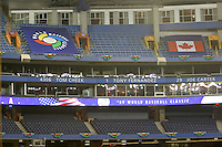 March 7, 2009:  Empty seats and banners during batting practice before the first round of the World Baseball Classic at the Rogers Centre in Toronto, Ontario, Canada.  Team USA defeated Canada 6-5 in both teams opening game of the tournament.  Photo by:  Mike Janes/Four Seam Images
