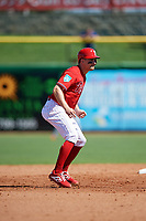 Philadelphia Phillies third baseman Phil Gosselin (9) leads off second base during a Grapefruit League Spring Training game against the Baltimore Orioles on February 28, 2019 at Spectrum Field in Clearwater, Florida.  Orioles tied the Phillies 5-5.  (Mike Janes/Four Seam Images)