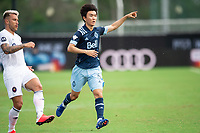 LAKE BUENA VISTA, FL - JULY 23: Hwang In-Beom #6 of Vancouver Whitecaps FC directing the pass during a game between Chicago Fire and Vancouver Whitecaps at Wide World of Sports on July 23, 2020 in Lake Buena Vista, Florida.