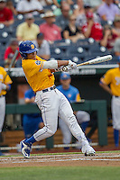 UC Santa Barbara Gauchos outfielder Devon Bradford (15) swings the bat against the Miami Hurricanes in Game 5 of the NCAA College World Series on June 20, 2016 at TD Ameritrade Park in Omaha, Nebraska. UC Santa Barbara defeated Miami  5-3. (Andrew Woolley/Four Seam Images)