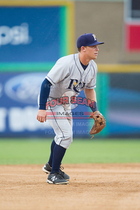 Princeton Rays shortstop Riley Unroe (1) on defense against the Burlington Royals at Burlington Athletic Park on July 9, 2014 in Burlington, North Carolina.  The Rays defeated the Royals 3-0.  (Brian Westerholt/Four Seam Images)