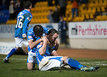 St Johnstone v Inverness Caley Thistle…09.03.16  SPFL McDiarmid Park, Perth<br />Chris Kane celebrates his goal with Simon Lappin<br />Picture by Graeme Hart.<br />Copyright Perthshire Picture Agency<br />Tel: 01738 623350  Mobile: 07990 594431