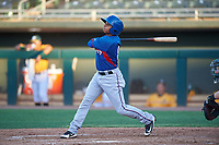 AZL Rangers Derwin Barreto (8) at bat during an Arizona League game against the AZL Athletics Gold on July 15, 2019 at Hohokam Stadium in Mesa, Arizona. The AZL Athletics Gold defeated the AZL Rangers 9-8 in 11 innings. (Zachary Lucy/Four Seam Images)