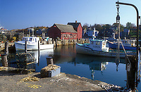 harbor, lobster boats, Rockport, MA, Massachusetts, Fishing boats docked in Rockport Harbor in Rockport in the fall.