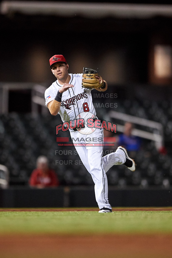 Scottsdale Scorpions third baseman Cullen Large (8), of the Toronto Blue Jays organization, makes a running throw to first base during an Arizona Fall League game against the Glendale Desert Dogs on September 20, 2019 at Salt River Fields at Talking Stick in Scottsdale, Arizona. Scottsdale defeated Glendale 3-2. (Zachary Lucy/Four Seam Images)