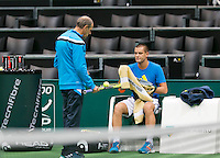 09-02-14, Netherlands,Rotterdam,Ahoy, ABNAMROWTT,  Mikhail Youzhny(RUS) with his coach Boris Sobkin<br /> Photo:Tennisimages/Henk Koster