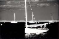 Sunset on moored sailboats<br />