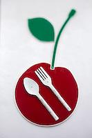 France, Pyrénées-Atlantiques (64), Pays-Basque, Itxassou: Enseigne restaurant du village célébrant la cerise d'Itxassou // France, Pyrenees Atlantiques, Basque Country,  Itxassou: Restaurant teach shaped  Itxassou cherry