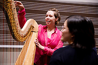 Performer Jasmine Hogan speaks with audience members after the Composition Forum at the 11th USA International Harp Competition at Indiana University in Bloomington, Indiana on Monday, July 8, 2019. (Photo by James Brosher)