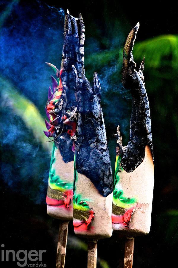 Burning Incense at Mah Choi Nui Nui Temple, Christmas Island, Indian Ocean