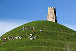 Great Britain, England, Somerset, Glastonbury: Glastonbury Tor, ruins of the tower of medieval church of St Michael atop the 525 foot high hill