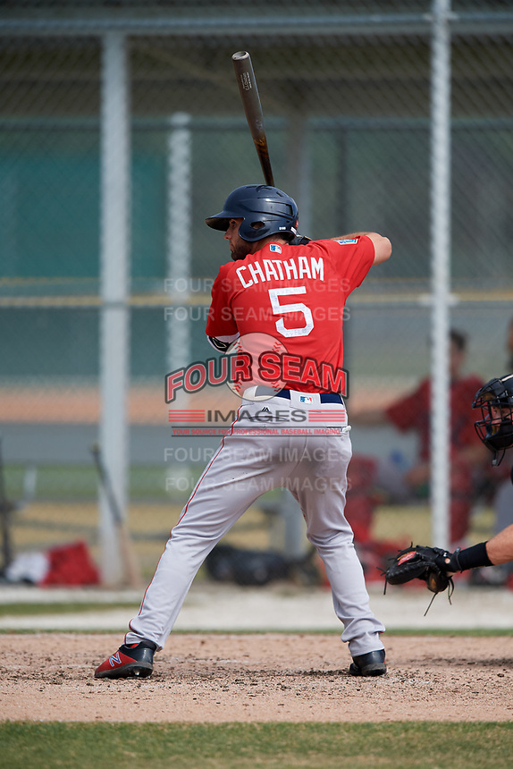 Boston Red Sox C.J. Chatham (5) during a Minor League Spring Training game against the Baltimore Orioles on March 20, 2018 at Buck O'Neil Complex in Sarasota, Florida.  (Mike Janes/Four Seam Images)