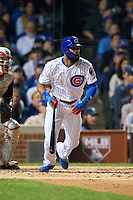 Chicago Cubs Jason Heyward (22) hits a single in the second inning during Game 4 of the Major League Baseball World Series against the Cleveland Indians on October 29, 2016 at Wrigley Field in Chicago, Illinois.  (Mike Janes/Four Seam Images)