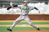 Marshall Thundering Herd starting pitcher Roscoe Blackburn (19) delivers a pitch to the plate against the Wake Forest Demon Deacons at Wake Forest Baseball Park on February 17, 2014 in Winston-Salem, North Carolina.  The Demon Deacons defeated the Thundering Herd 4-3.  (Brian Westerholt/Four Seam Images)