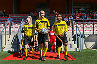Referees Lejear Melissa, Ncolas Julien and Kagne Bonaventure pictured before a women soccer match between Standard Femina de Liege and Eendracht Aalst dames, Saturday 25 September 2021 in Liege, in the 1/16 th final of the Belgian Womens Cup 2021-2022. PHOTO BERNARD GILLET