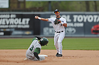 West Michigan Michigan Whitecaps second baseman Anthony Pereira (9) turns a double play as Fort Wayne TinCaps baserunner Rod Boykin (3) arrives at second base during the Midwest League baseball game on April 26, 2017 at Fifth Third Ballpark in Comstock Park, Michigan. West Michigan defeated Fort Wayne 8-2. (Andrew Woolley/Four Seam Images via AP Images)