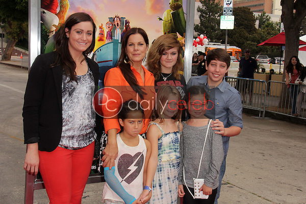 """Marcia Gay Harden and daughters with Ryan Lee<br /> at the """"Cloudy With A Chance of Meatballs 2"""" Los Angeles Premiere, Village Theater, Westwood, CA 09-21-13<br /> David Edwards/Dailyceleb.com 818-249-4998"""