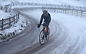 14/01/16<br /> <br /> Buxton Cycling Club member, Arne Beswick, trains on one of England's hardest and possibly coldest climbs as he rides up towards Mam Tor in the Derbyshire Peak District near Edale.<br /> <br /> All Rights Reserved: F Stop Press Ltd. +44(0)1335 418365   +44 (0)7765 242650 www.fstoppress.com