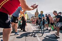 """Alejandro Valverde (ESP/Movistar) coming through """"Dutch Corner"""" (#7) on Alpe d'Huez<br /> <br /> Stage 12: Bourg-Saint-Maurice / Les Arcs > Alpe d'Huez (175km)<br /> <br /> 105th Tour de France 2018<br /> ©kramon"""