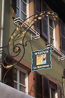 wrought iron sign wistub la krutenau colmar alsace france