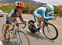 BOYACA - COLOMBIA: 10-09-2016. Miguel Angel Lopez del equipo Astana durante la cuarta etapa CRI, 30 kms, de la 38 versión de la vuelta Ciclista a Boyaca 2016 que se corre entre Sutamarchan y Samacá. La prueba se corre entre el  7 y el 11 septiembre de 2016./ Miguel Angel Lopez cyclist of Astana team during the fourth stage ITT, 30 kms, of the Vuelta a Boyaca 2016 that took place between villages of Sutamarchan and Samaca. The race is held between 7 and 11 of September of 2016 . Photo:  VizzorImage/ José Miguel Palencia / Liga Ciclismo de Boyaca