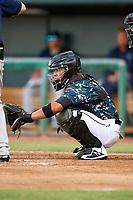 Jacksonville Jumbo Shrimp catcher Rodrigo Vigil (6) during a game against the Mobile BayBears on April 14, 2018 at Baseball Grounds of Jacksonville in Jacksonville, Florida.  Mobile defeated Jacksonville 13-3.  (Mike Janes/Four Seam Images)