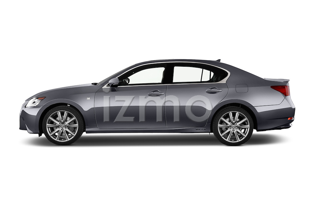 Car Driver side profile view of a 2014 Lexus GS 300H Hybrid F Sport Line 4 Door Sedan 2WD Side View