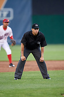 Umpire Edwin Jimenez during a game between the Lowell Spinners and Auburn Doubledays on July 13, 2018 at Falcon Park in Auburn, New York.  Lowell defeated Auburn 8-5.  (Mike Janes/Four Seam Images)