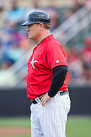 Kannapolis Intimidators manager Pete Rose Jr. (14) coaches third base during the game against the Hickory Crawdads at CMC-Northeast Stadium on May 17, 2014 in Kannapolis, North Carolina.  The Crawdads defeated the Intimidators 4-1.  (Brian Westerholt/Four Seam Images)